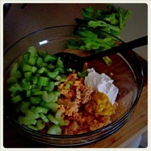 mashed peas, celery, veganaise, mustard and horse radish